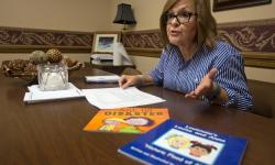 "Debbie Kropog, Federal Programs Coordinator for Livingston Parish Public Schools talks about the books Livingston Parish schools used to help young students cope with the Louisiana flood of 2016, including ""The Ant Hill Disaster,"" and ""Louisiana's Louise and Anna"", during an interview, Monday, August 7, 2017. Photo by Ted Jackson, NOLA.com, The Times-Picayune"