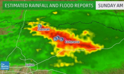 Darker orange and red shadings illustrate where the heaviest rain fell in northeast Texas on Sunday morning. Image: The Weather Channel