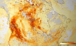 Wildfires produce high concentration of aerosols, smoke, and haze (dark orange). Photo: NOAA