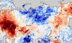 This map shows how much temperatures over Russia varied from normal between July 20-27, 2010. The strong concentration of deep red over eastern Russia reflects the weeks-long heat wave that gripped the region that summer. Photo: NASA
