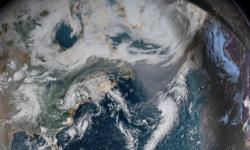 Smoke is clearly visible on GOES-16 satellite imagery crossing the Atlantic. Image: NOAA
