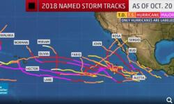 Season-to-date named storm tracks in the Eastern Pacific Ocean (east of the International Date Line) as of Oct. 20, 2018. Note: only hurricanes are labeled with their names in order to reduce clutter. Image: The Weather Channel
