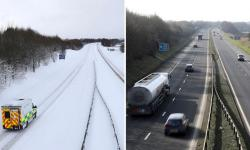 The M876 motorway in Scotland on 31 January last year, during the Beast from the East, and in February this year. Photo: Andrew Milligan, PA