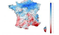 Rainfall totals for May 2019 compared to the 1981-2010 average monthly reference of precipitation totals. Image: Météo France