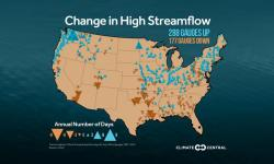 Change in high streamflow in the spring. Photo: Climate Central