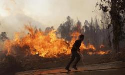 A man runs with a water hose as villagers join firefighters battling a forest fire coming close to houses in the village of Chao de Codes, near Macao, central Portugal, Wednesday, Aug. 16 2017. Photo: Armando Franca, AP