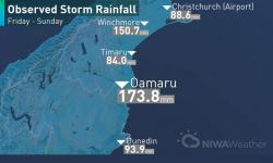 Observed storm rainfall in the South Island, Friday, July 21 - Sunday, July 23, 2017. Image: NIWA