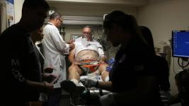 Doctor David Farcy works on David Patlak, acting as a cardiac arrest patient during an emergency drill, at Mount Sinai Medical Center's Emergency Room, July 24, 2015. Floridians are already experiencing the health effects of climate change, including heat stroke and heart problems, doctors say. Now some medical practitioners are banding together to educate and advocate for their patients as the Florida Clinicians for Climate Action. Photo: Emily Michot, Miami Herald
