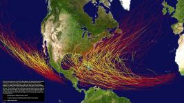 Tracks of Category 3 or stronger hurricanes (in yellow), and other hurricanes, tropical storms and tropical depressions (in red) in the Atlantic Basin from 1851-2013 and in the eastern Pacific Basin from 1949-2013. Image: National Hurricane Center