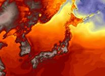 American (GFS) model simulation of temperatures in Japan on Thursday afternoon. Image: WeatherBell.com