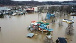 Coney Island amusement park in Cincinnati, Ohio, floods on February 24, 2018, as the Ohio River rises. Photo: Brian Lewis