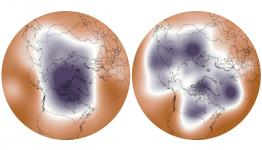 A strong polar vortex (left, from December 2013) is centered over the Arctic. A weakened polar vortex (right, from January 2014) allows cold air to dip farther south. Image: NOAA