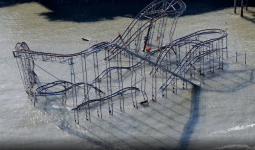 Roller coaster in the Atlantic Ocean in Seaside Heights, N.J., after Superstorm Sandy.